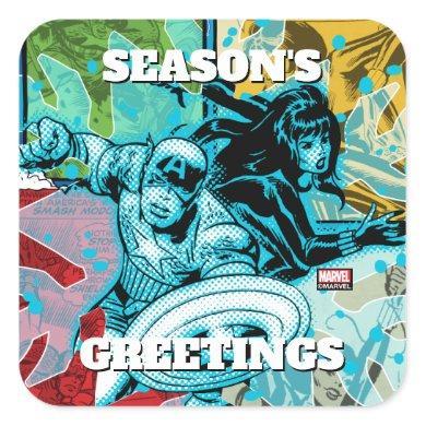 Marvel Classics   Cap & Black Widow Icey Graphic Square Sticker