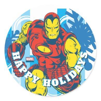 Marvel Classics   Iron Man Snowflake Graphic Classic Round Sticker