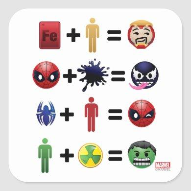 Marvel Emoji Character Equations Square Sticker