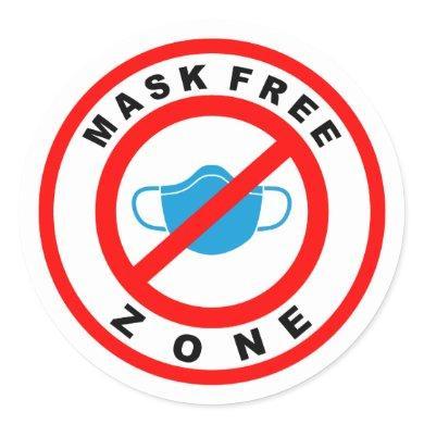 Mask Free Zone Classic Round Sticker