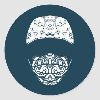 masked in paisley classic round sticker