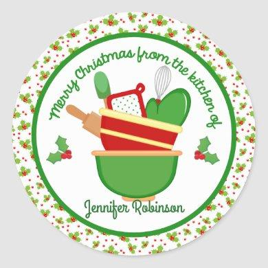 Merry Christmas from the kitchen of Classic Round Sticker