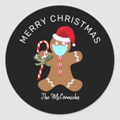 Merry Christmas Gingerbread Man Santa Personalized Classic Round Sticker