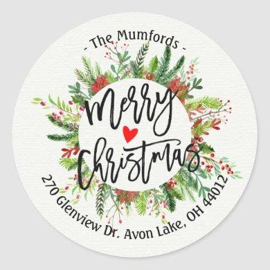 Merry Christmas Holly Wreath Return Address Labels
