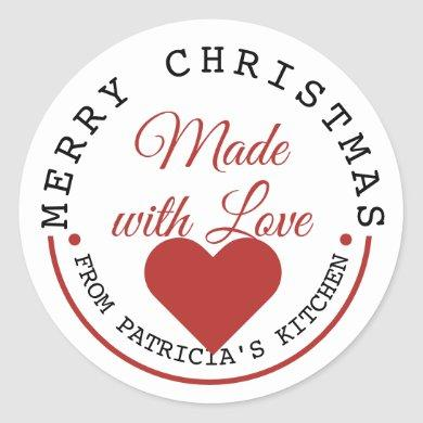 Merry Christmas Made With Love Classic Round Sticker