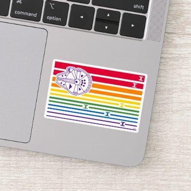 Millenium Falcon Rainbow Stripes Sticker