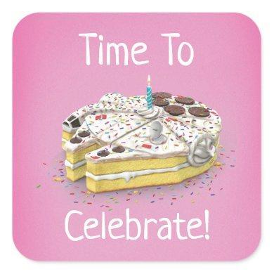 Millennium Falcon Birthday Cake Square Sticker
