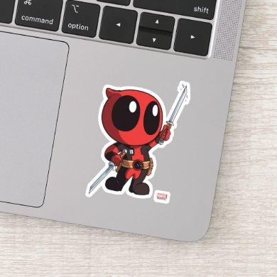Mini Deadpool With Two Swords Sticker