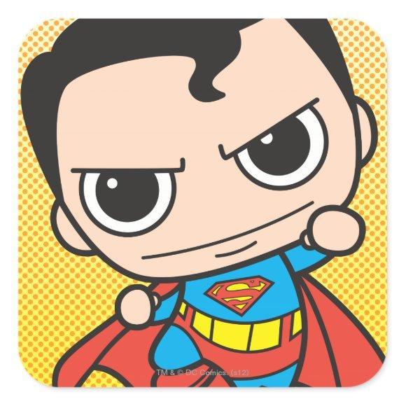 Mini Superman Flying Square Sticker