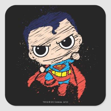 Mini Superman Sketch - Flying Square Sticker