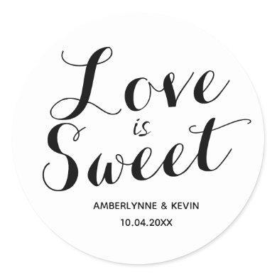 Minimalist Love is Sweet Classic Round Sticker