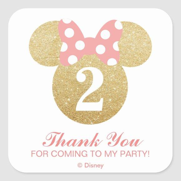 Minnie Mouse | Gold & Pink - Thank You