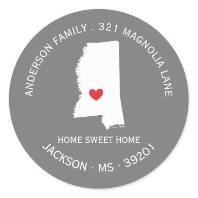 MISSISSIPPI State | New Home Address Label Sticker