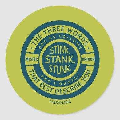 Mister Grinch   Stink Stank Stunk Classic Round Sticker