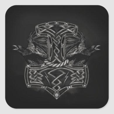 Mjolnir - The hammer of Thor and Ravens Square Sticker