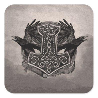 Mjolnir The hammer of Thor and ravens Square Sticker