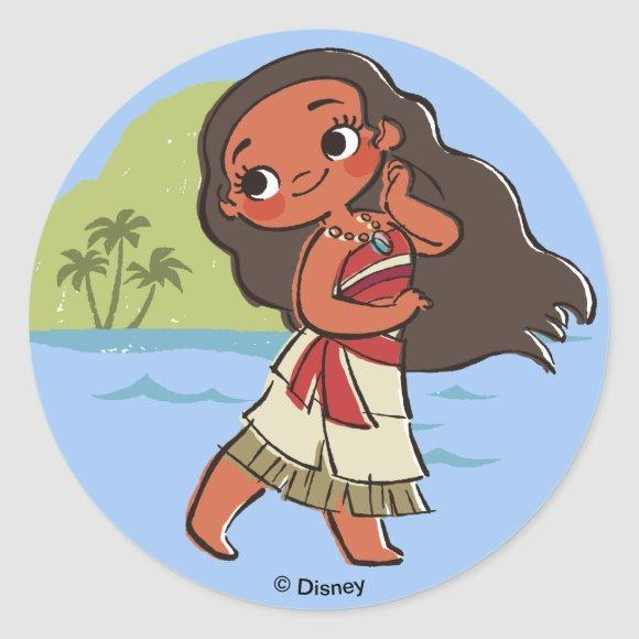 Moana   Island Girl Classic Round Sticker