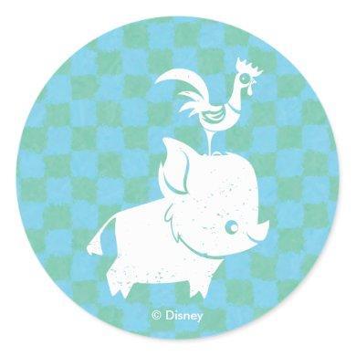 Moana | Pua & Heihei - Silhouette Classic Round Sticker