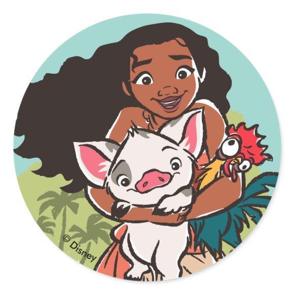 Moana | Pua & Heihei - Voyagers Classic Round Sticker
