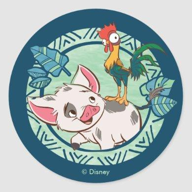 Moana | Pua & Heihei Voyagers Classic Round Sticker