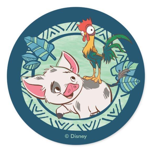 Moana   Pua & Heihei Voyagers Classic Round Sticker