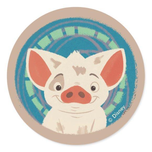 Moana | Pua The Pig Classic Round Sticker