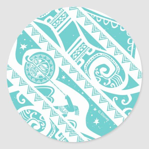 Moana | Teal Tribal Pattern Classic Round Sticker