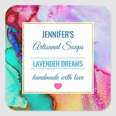 Modern Abstract Marble Watercolor Design Soap Square Sticker