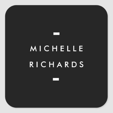 Modern and Simple Black Square Sticker