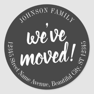 Modern Black Script We've Moved New Address Label