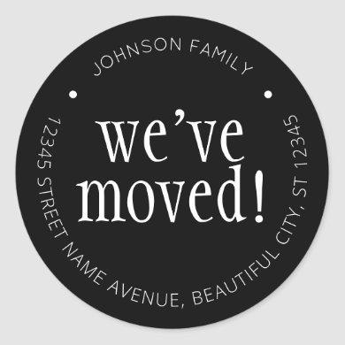 Modern Black We've Moved Chic New Address Label