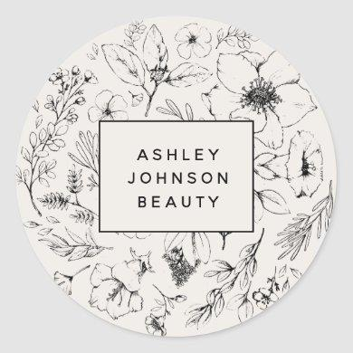 Modern Botanical Blush Pink Floral Business Classic Round Sticker
