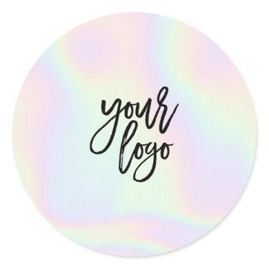 Modern chic holographic pastel rainbow brand logo classic round sticker