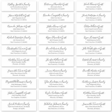 Modern Chic Script Wedding Guest Names Address Sticker