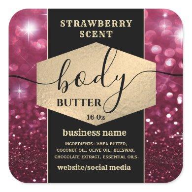 Modern elegant sparkle script body butter label