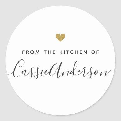 Modern Gold Heart Personalized Baking Gift Classic Round Sticker