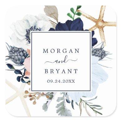 Modern Nautical | Floral Wedding Envelope Seals