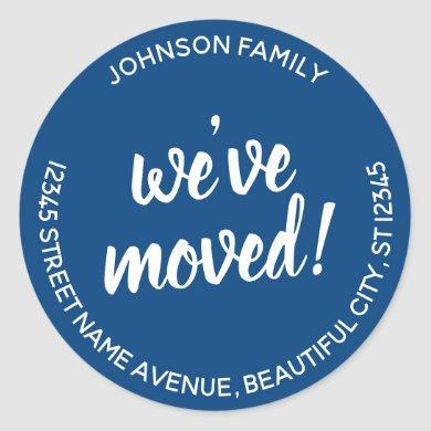 Modern Navy Blue We've Moved New Address Label