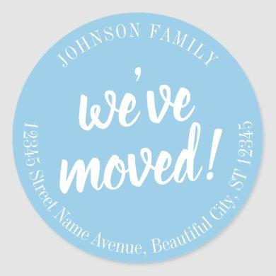 Modern Script Blue We've Moved New Address Label
