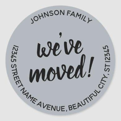 Modern Script Gray We've Moved New Address Label