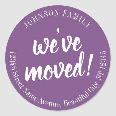 Modern Script Purple We've Moved New Address Classic Round Sticker
