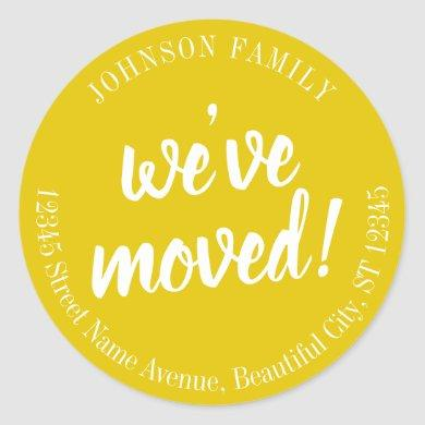 Modern Script Yellow We've Moved New Address Classic Round Sticker