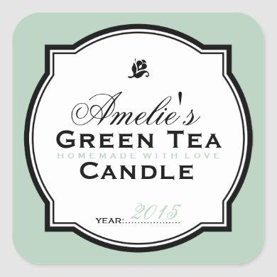MODERN VINTAGE GREEN | PERSONALIZED SOAP CANDLE SQUARE STICKER
