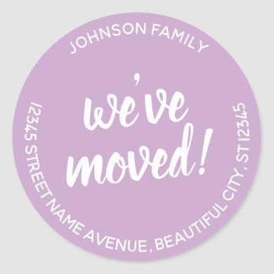 Modern We've Moved Lavender New Address Label