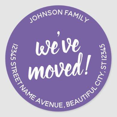 Modern We've Moved Purple Violet New Address Label
