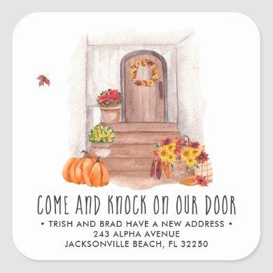 Moving Announcement | Cozy Autumn Door Square Sticker