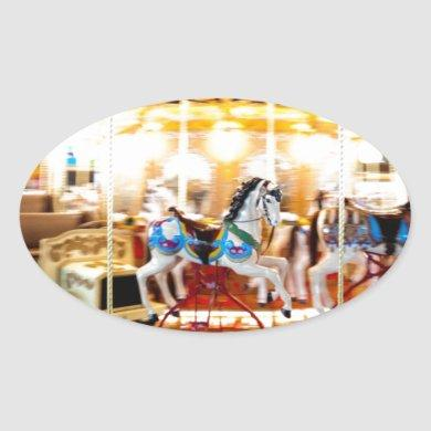 Moving Carousel Oval Sticker