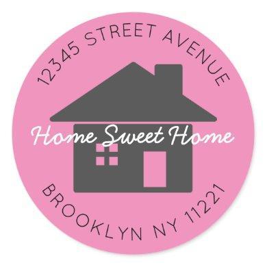 Moving Home Sweet Home Pink Return Address Label