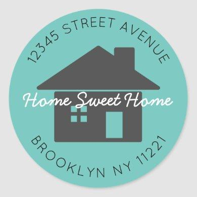Moving Home Sweet Home Teal Return Address Label