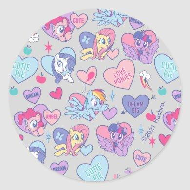 My Little Pony Candy Hearts Pattern Classic Round Sticker